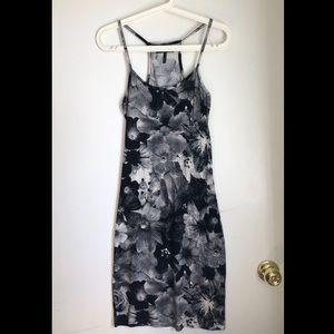 B&W Flower Print Summer Dress